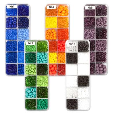 Микс разных размеров бисера одной цветовой гаммы.